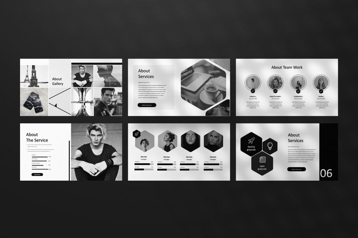Grayscale Creative Google Slide, Slide 10, 06556, Presentation Templates — PoweredTemplate.com
