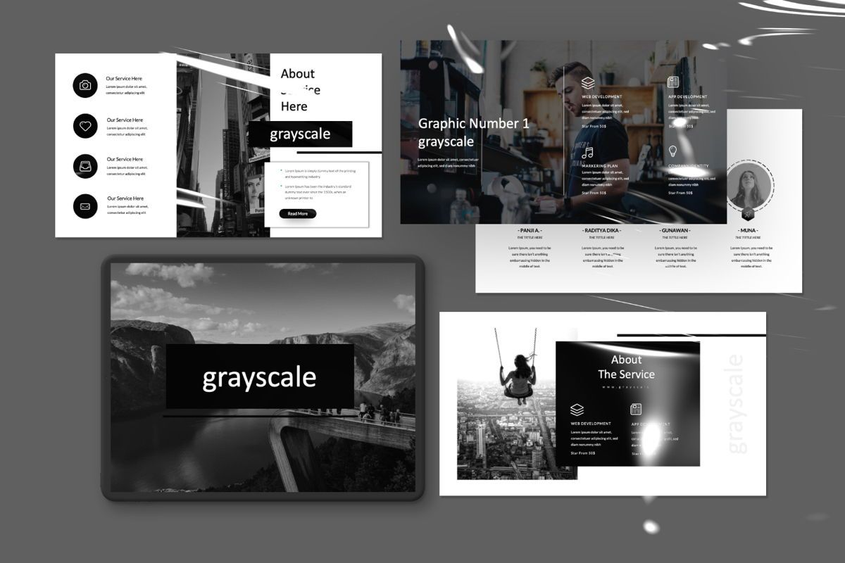 Grayscale Creative Google Slide, Slide 3, 06556, Presentation Templates — PoweredTemplate.com
