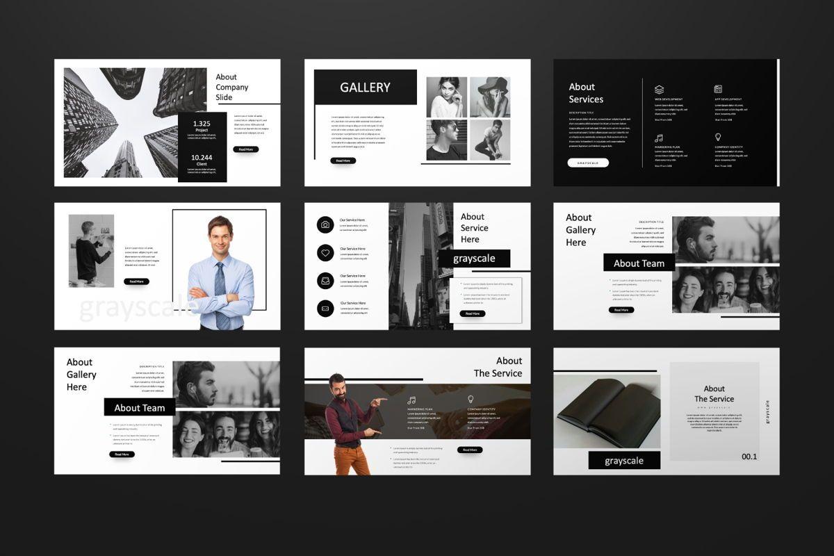 Grayscale Creative Google Slide, Slide 5, 06556, Presentation Templates — PoweredTemplate.com