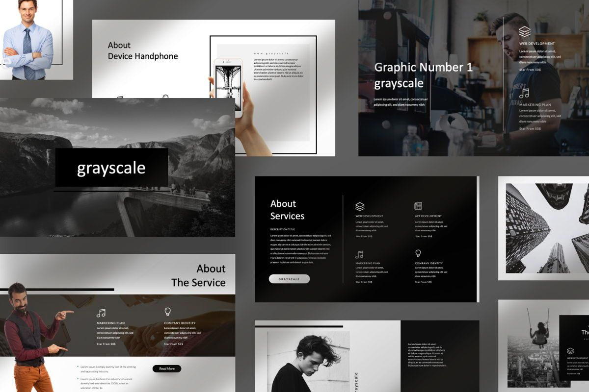 Grayscale Creative Google Slide, Slide 7, 06556, Presentation Templates — PoweredTemplate.com