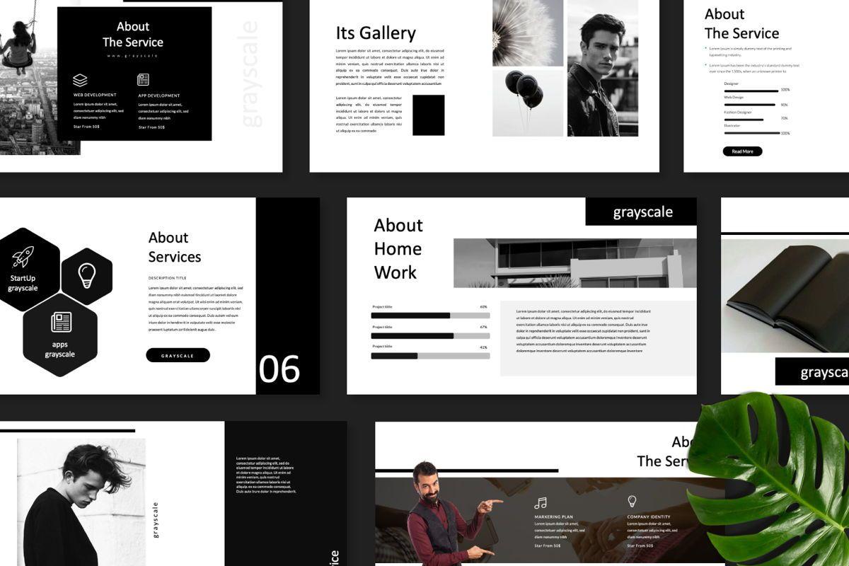 Grayscale Creative Google Slide, Slide 8, 06556, Presentation Templates — PoweredTemplate.com