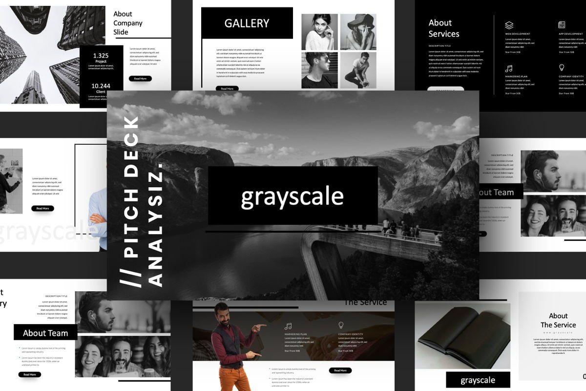 Grayscale Creative Powerpoint, 06558, Presentation Templates — PoweredTemplate.com