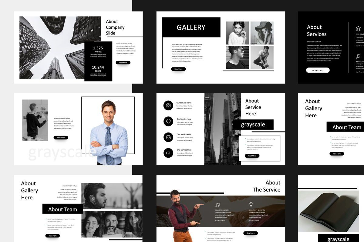 Grayscale Creative Powerpoint, Slide 2, 06558, Presentation Templates — PoweredTemplate.com