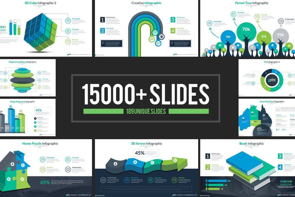 Elite PowerPoint Template with Infographics, 06575, Icons — PoweredTemplate.com