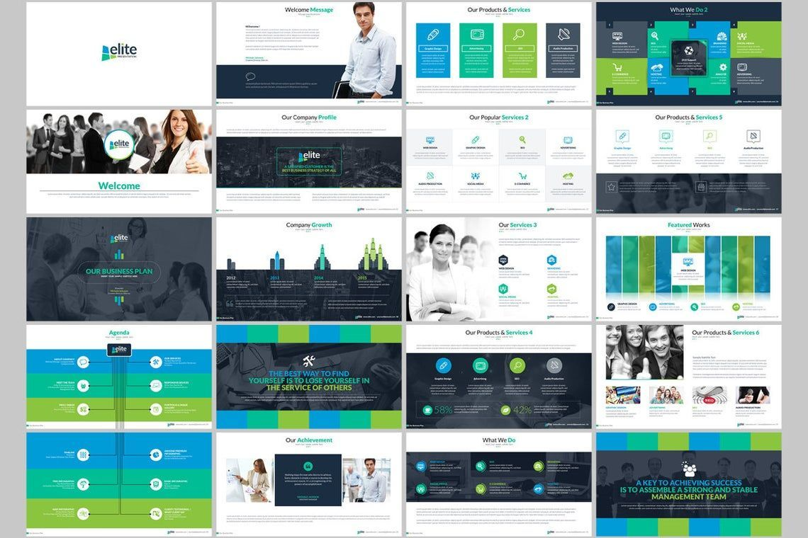 Elite PowerPoint Template with Infographics, Slide 2, 06575, Icons — PoweredTemplate.com