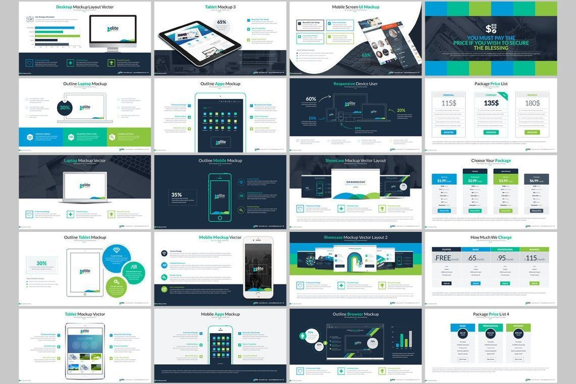 Elite PowerPoint Template with Infographics, Slide 4, 06575, Icons — PoweredTemplate.com