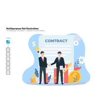 Business Models: Flat illustration contract #06576