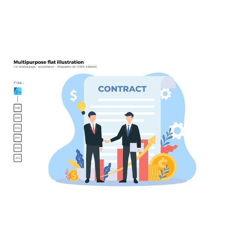 Flat illustration contract, 06576, Business Models — PoweredTemplate.com