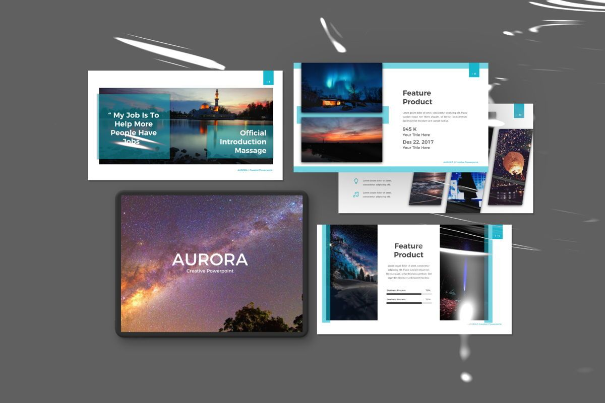 Aurora Creative Powerpoint, 06592, Presentation Templates — PoweredTemplate.com