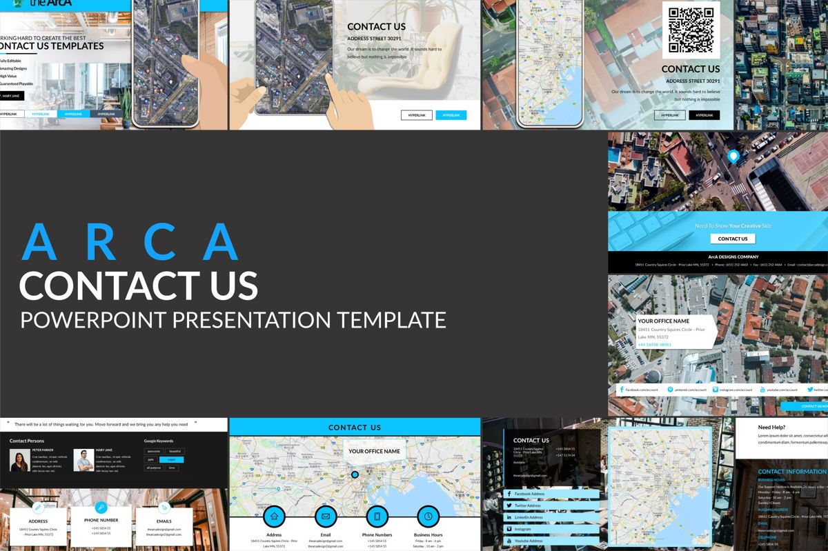 Arca Contact Us Presentation Templates, 06611, Icons — PoweredTemplate.com