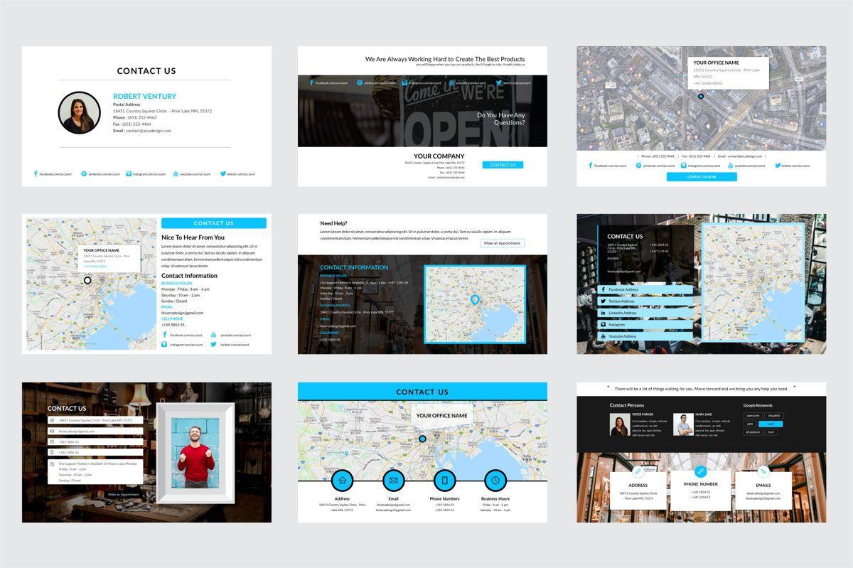 Arca Contact Us Presentation Templates, Slide 3, 06611, Icons — PoweredTemplate.com
