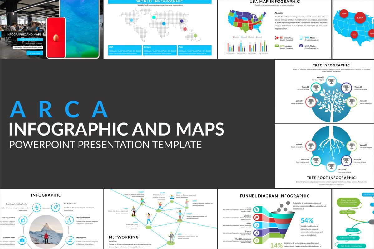 Arca Infographic and Maps Presentation Template, 06622, Modelos de Negócio — PoweredTemplate.com