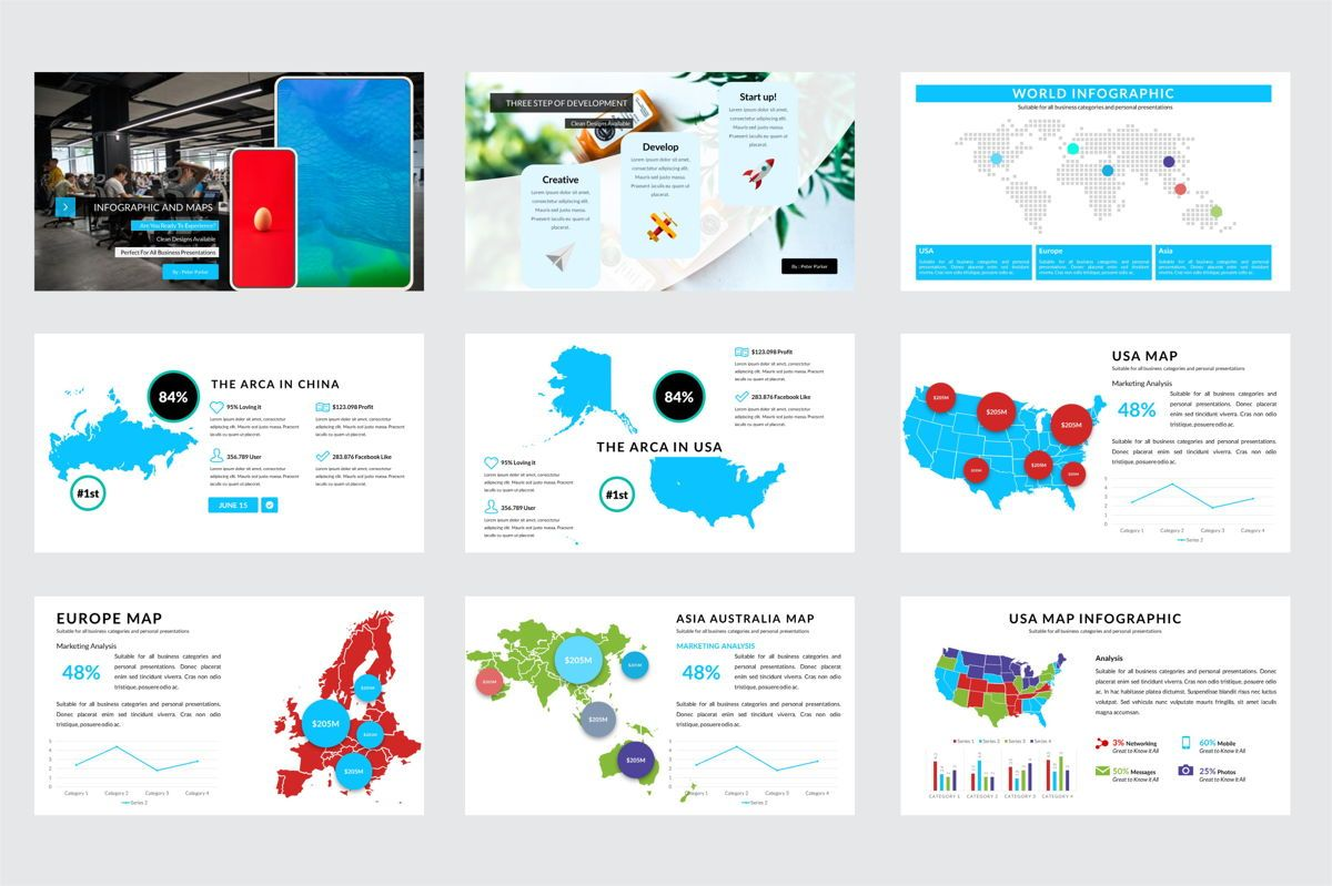 Arca Infographic and Maps Presentation Template, Deslizar 2, 06622, Modelos de Negócio — PoweredTemplate.com