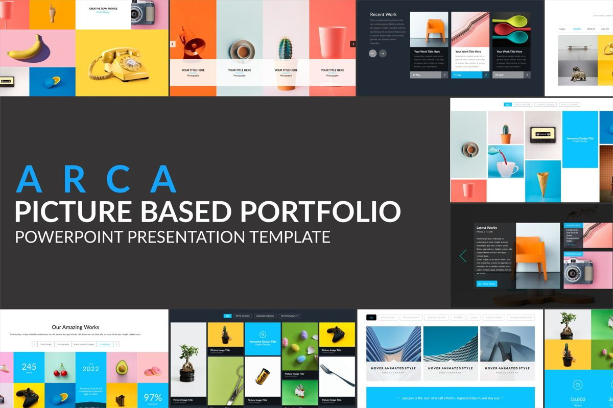 Arca Picture Based Portofolio Presentation Template, 06626, Icons — PoweredTemplate.com