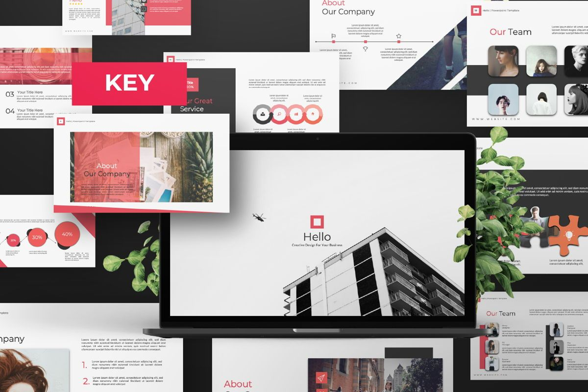 Hello Creative Keynote, 06635, Presentation Templates — PoweredTemplate.com
