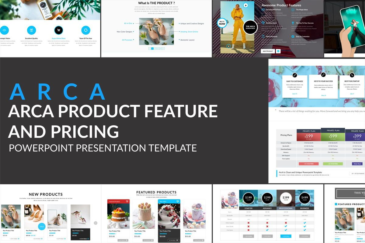Arca Product Feature and Pricing Presentation Template, 06637, Presentation Templates — PoweredTemplate.com