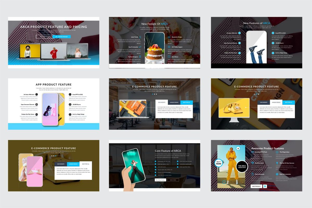 Arca Product Feature and Pricing Presentation Template, Slide 2, 06637, Presentation Templates — PoweredTemplate.com