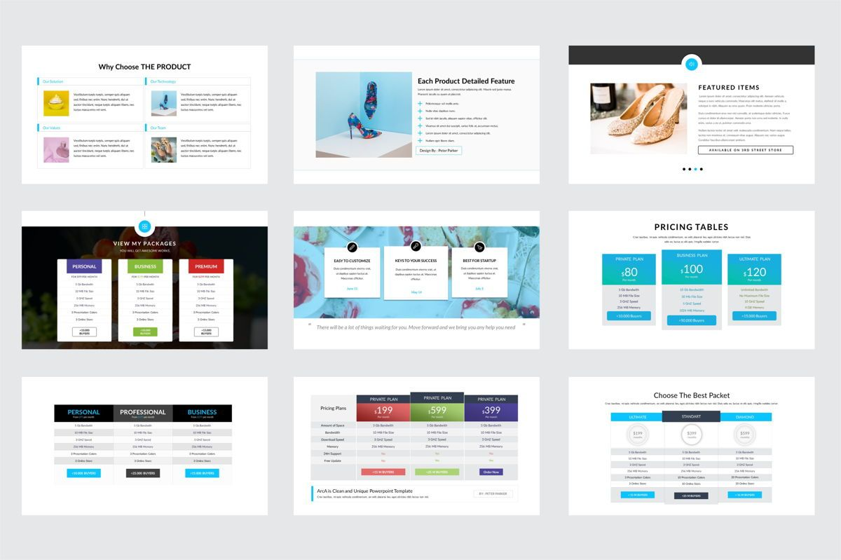 Arca Product Feature and Pricing Presentation Template, Slide 4, 06637, Presentation Templates — PoweredTemplate.com