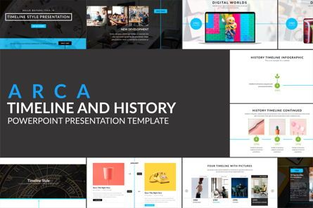Flow Charts: Arca Timeline and History Presentation Template #06641