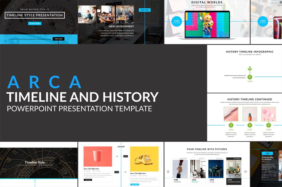 Arca Timeline and History Presentation Template, 06641, Flow Charts — PoweredTemplate.com