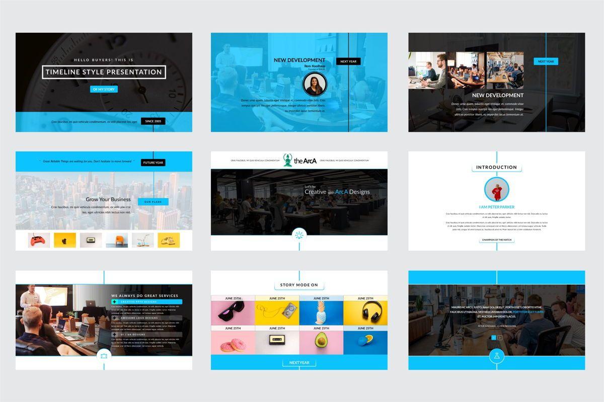 Arca Timeline and History Presentation Template, Slide 2, 06641, Flow Charts — PoweredTemplate.com