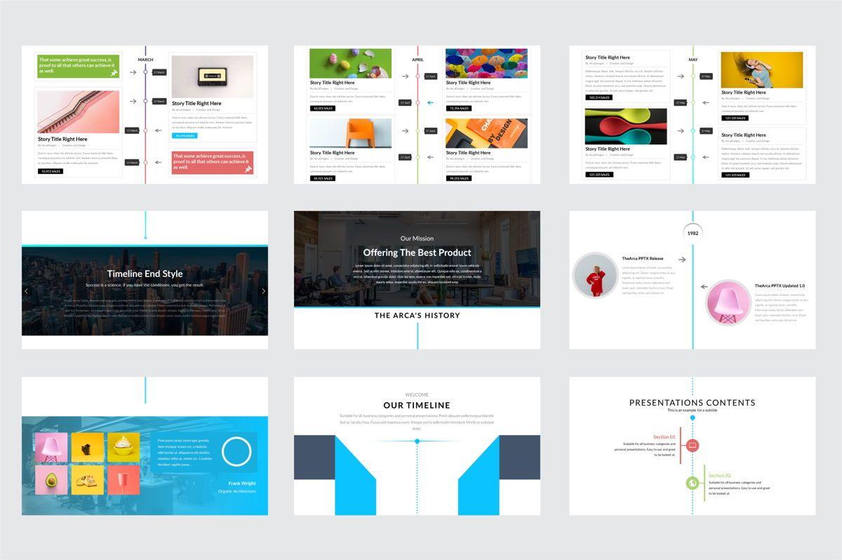 Arca Timeline and History Presentation Template, Slide 4, 06641, Flow Charts — PoweredTemplate.com