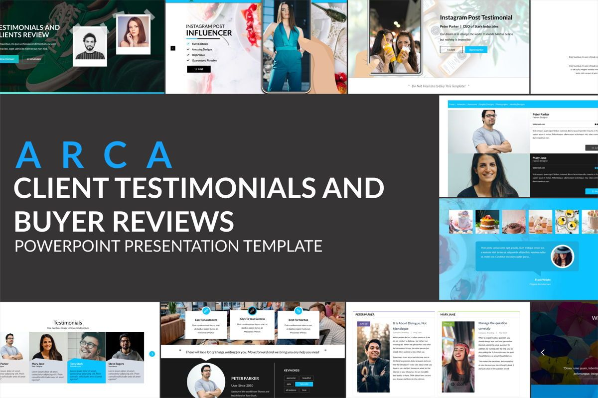 Arca Client Testimonials and Buyer Reviews Presentation Template, 06648, Infographics — PoweredTemplate.com