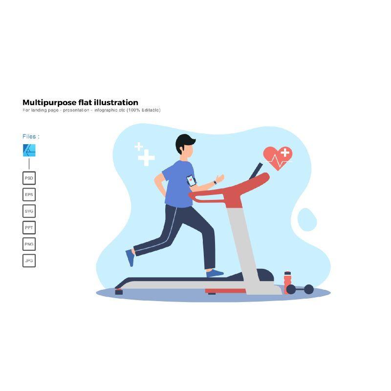 Flat illustration treadmill, 06654, Infographics — PoweredTemplate.com