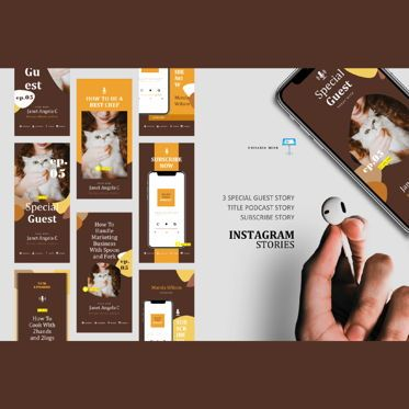 Business Models: Bakery podcast instagram stories and posts keynote template #06664