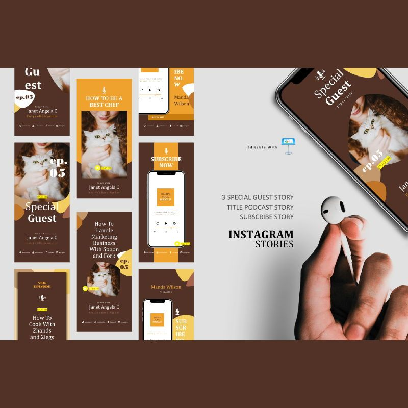 Bakery podcast instagram stories and posts keynote template, 06664, Business Models — PoweredTemplate.com