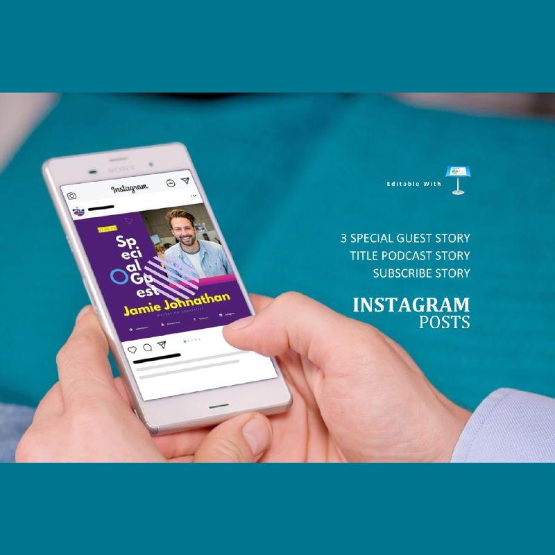 Social media podcast instagram stories and posts keynote template, Slide 3, 06665, Business Models — PoweredTemplate.com