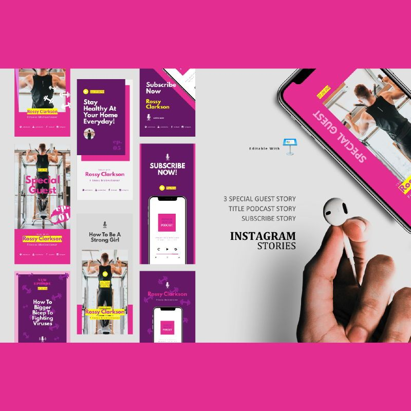 Fitness podcast instagram stories and posts keynote template, 06666, Business Models — PoweredTemplate.com