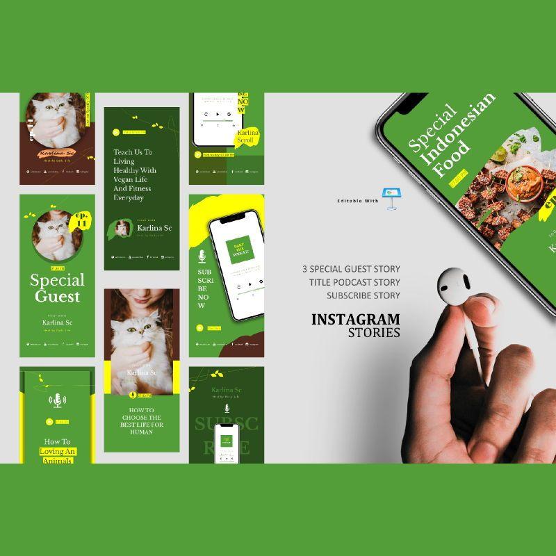 Vegan podcast instagram stories and posts keynote template, 06667, Business Models — PoweredTemplate.com