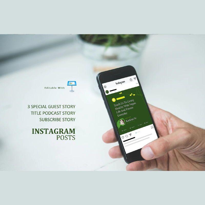 Vegan podcast instagram stories and posts keynote template, Slide 3, 06667, Business Models — PoweredTemplate.com