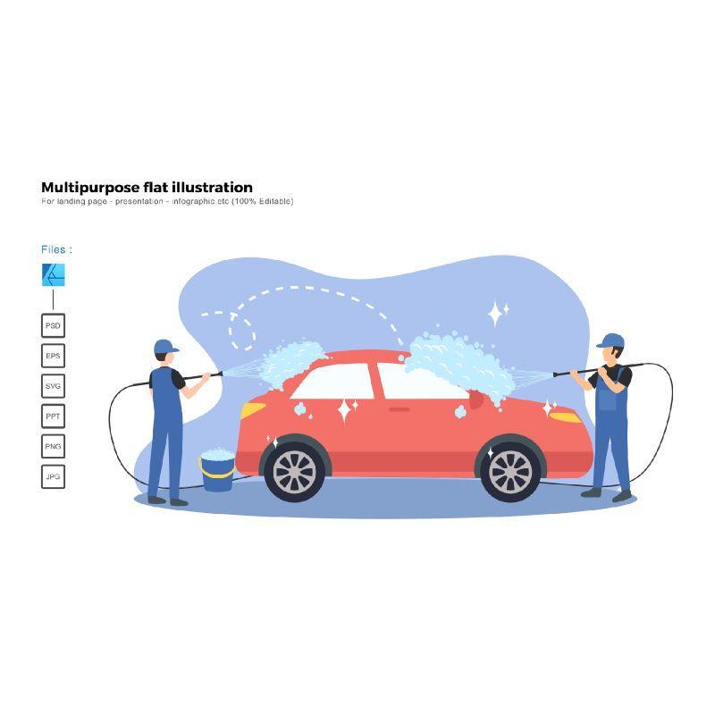 Multipurpose modern flat illustration design car wash service, 06670, Infographics — PoweredTemplate.com