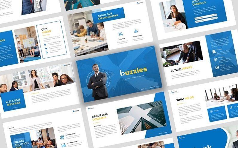 Buzzeies - Business presentation Template, 06679, Presentation Templates — PoweredTemplate.com