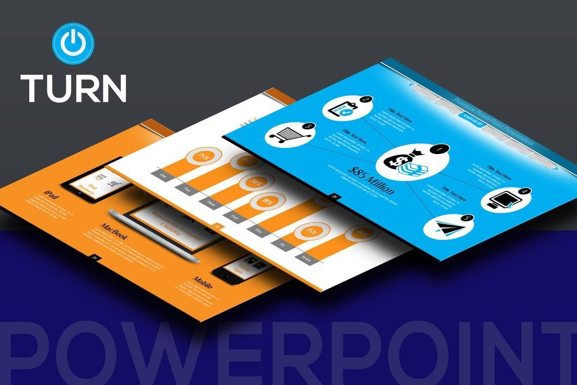 Turn PowerPoint Presentation Template, 06683, Icons — PoweredTemplate.com