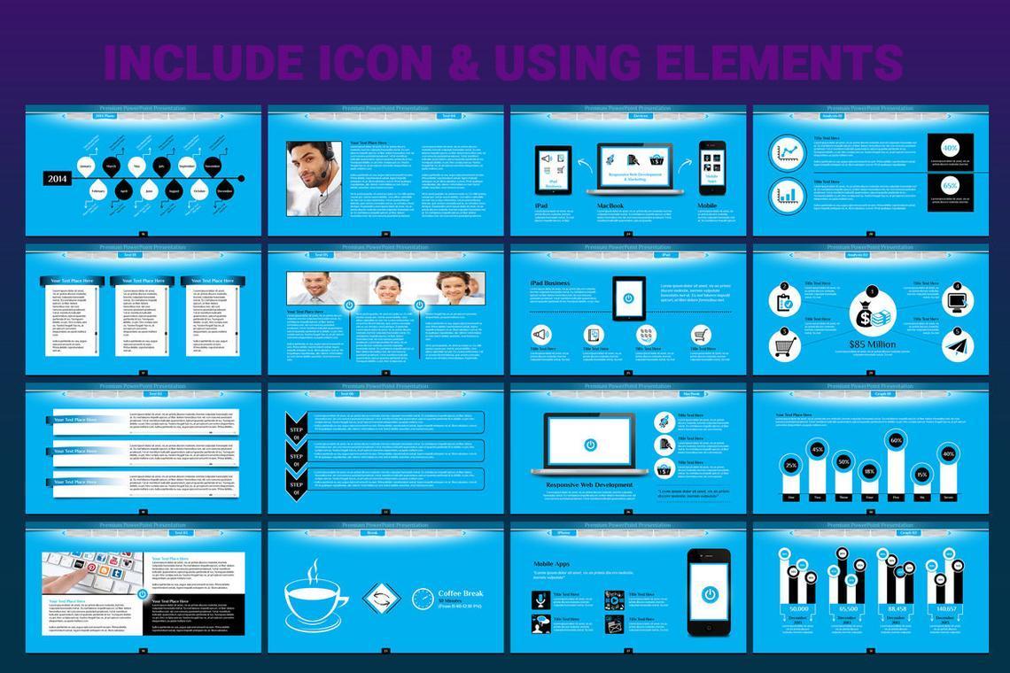 Turn PowerPoint Presentation Template, Slide 6, 06683, Icons — PoweredTemplate.com
