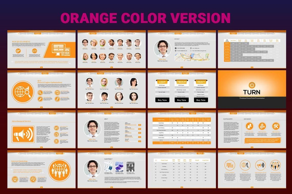 Turn PowerPoint Presentation Template, Slide 8, 06683, Icons — PoweredTemplate.com