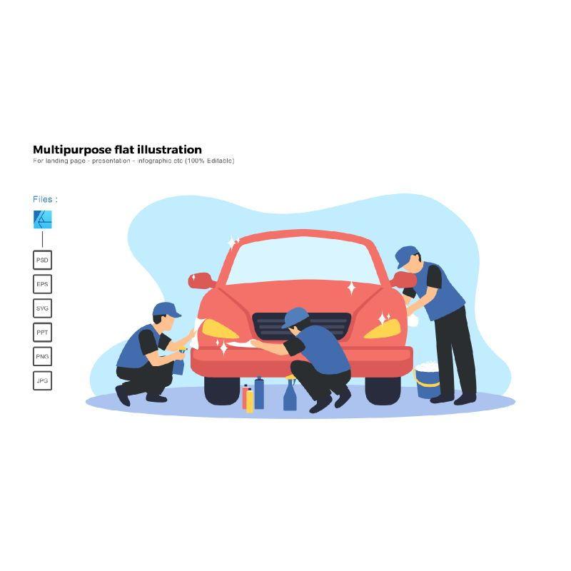 Multipurpose modern flat illustration design car spa coating service, 06688, Infographics — PoweredTemplate.com