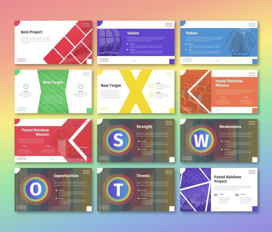 Pastel Rainbow - Multipurpose Powerpoint Template, Slide 3, 06701, Business Models — PoweredTemplate.com