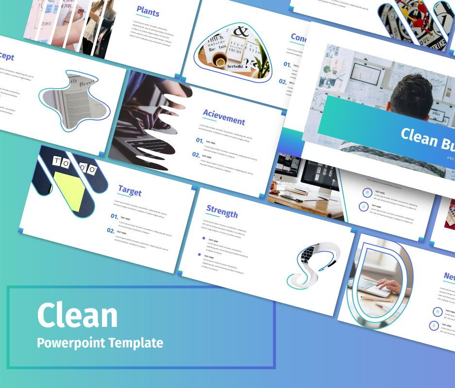 Clean – Business Powerpoint Template, 06713, Business Models — PoweredTemplate.com