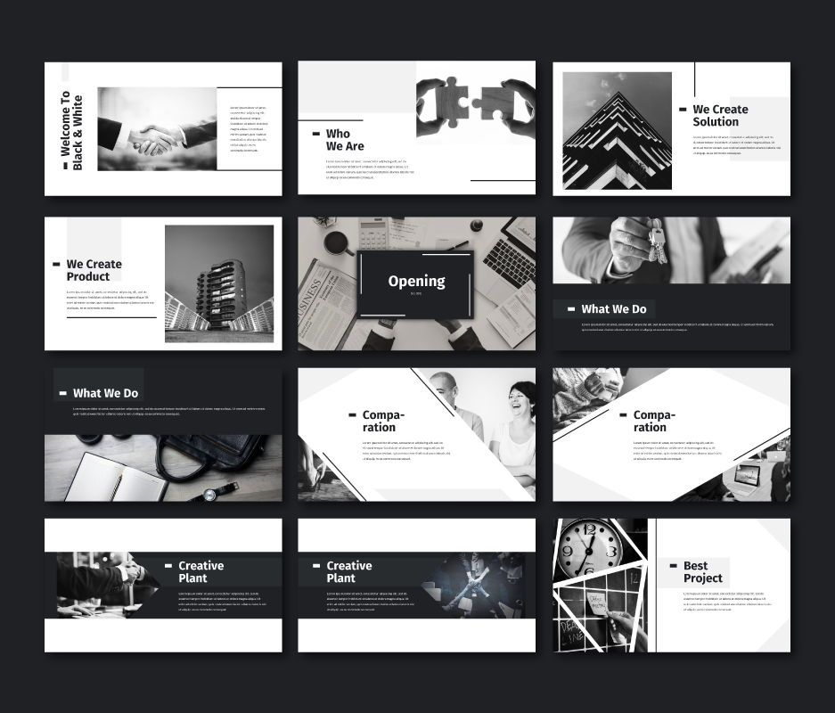 Black White - Business Powerpoint Template, Slide 2, 06719, Business Models — PoweredTemplate.com