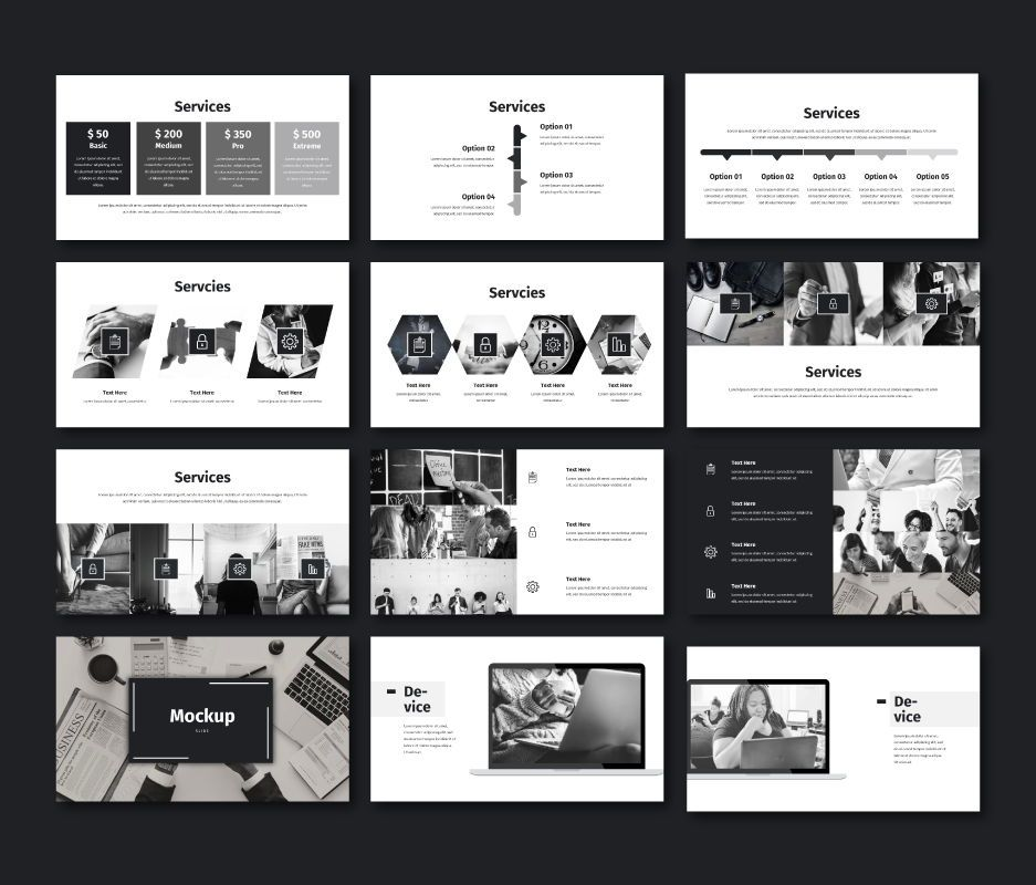 Black White - Business Powerpoint Template, Slide 7, 06719, Business Models — PoweredTemplate.com