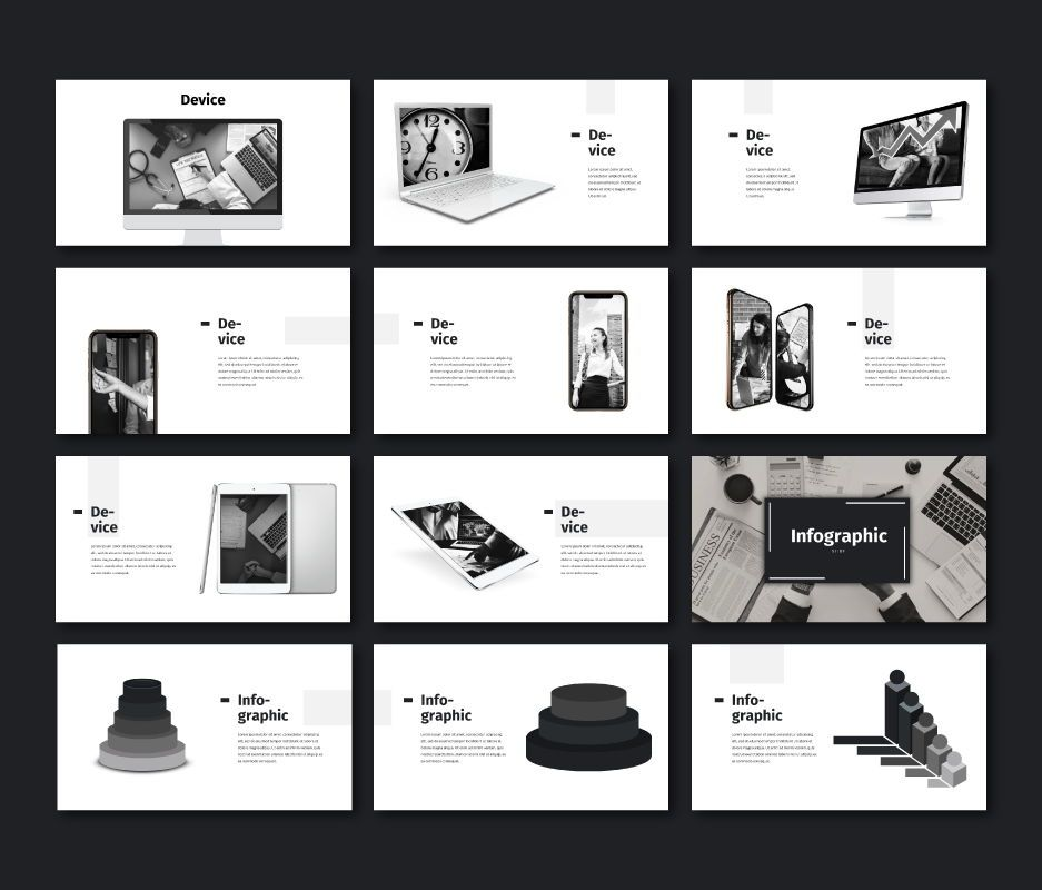 Black White - Business Powerpoint Template, Slide 8, 06719, Business Models — PoweredTemplate.com