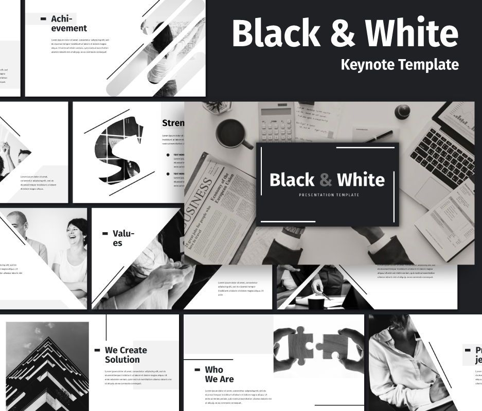 Black White - Business Keynote Template, 06721, Business Models — PoweredTemplate.com