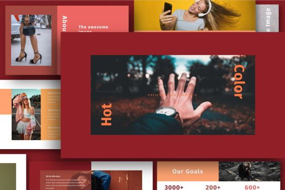 Business Models: Hot Color Powerpoint Template #06734