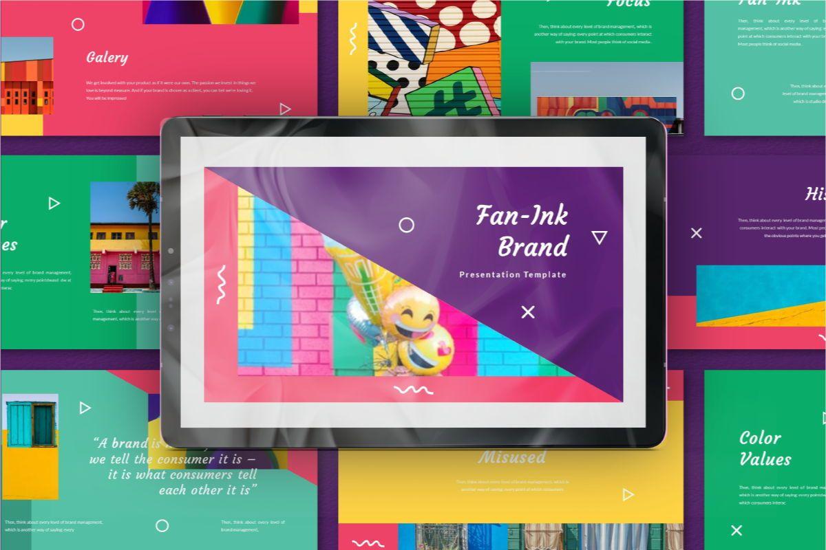 Fan-Ink Brand Powerpoint Template, 06752, Business Models — PoweredTemplate.com