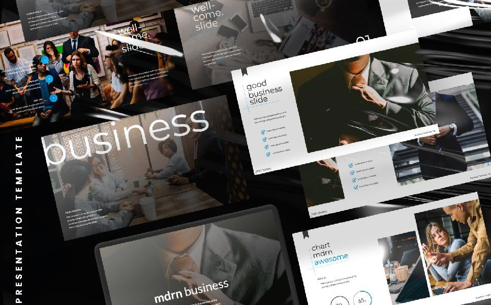 MDRN Business Google Slide, 06757, Presentation Templates — PoweredTemplate.com