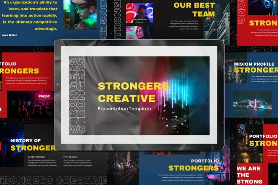 Business Models: Strongers Creative Powerpoint Template #06758